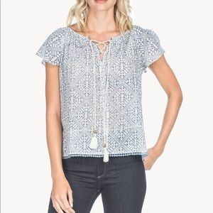 Lilla P Woven Lace Up Top